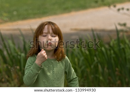 Young Caucasian girl blowing dandelion seeds