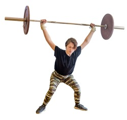 Young caucasian girl of 13 years old does snatch exercise during weightlifting competition with heavy barbell. Kid's weightlifting sports and competition, active sports. Isolated on white.