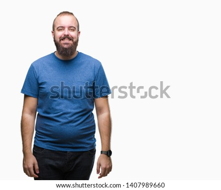 Young caucasian hipster man over isolated background with a happy and cool smile on face. Lucky person.