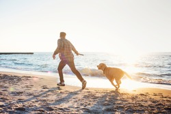young caucasian male playing with labrador on beach during sunrise or sunset. Man and dog having fun on seaside