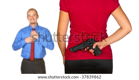 young caucasian man come back home and angry wife waiting for him with pistol behind her back