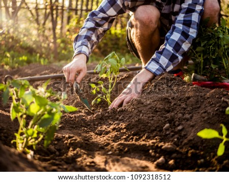 young caucasian man gardening close up portrait  #1092318512