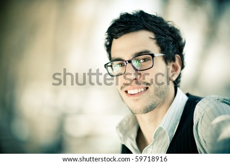 Young caucasian man portrait outdoor