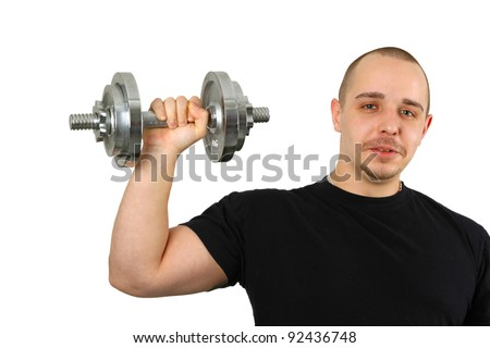 Young caucasian man with barbells isolated on white background