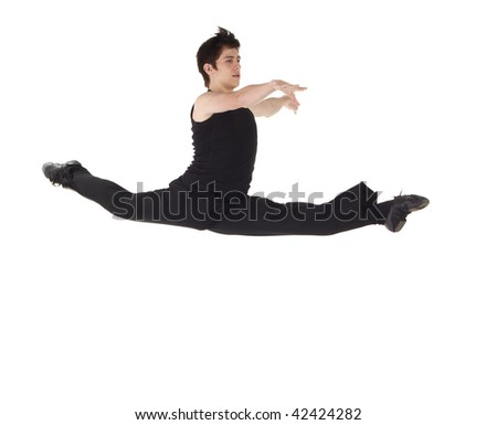Young caucasian Modern Jazz dancer in a black top and black pants on a white background displaying various positions. NOT ISOLATED