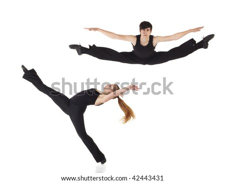 Young caucasian Modern Jazz dancers in a black top and black pants on a white background displaying various positions. NOT ISOLATED