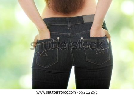Young caucasian woman body in jeans