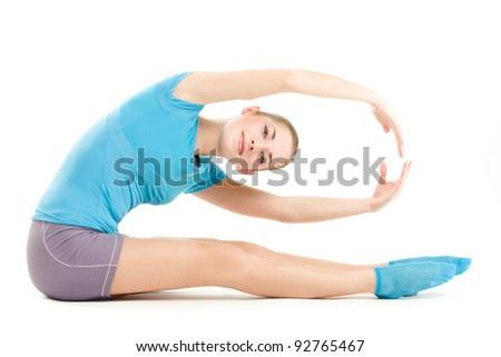 young caucasian woman doing fitness exercises, isolated on white