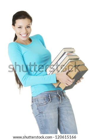 Young caucasian woman (student) with books , isolated on white