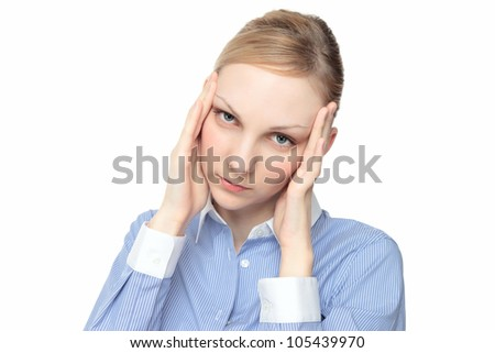 Young Caucasian woman touch the head with white background