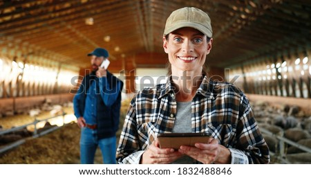 Young Caucasian woman using tablet device and working in farm stable. Female farmer tapping and scrolling on gadget computer in shed. Man talking on phone on background. Male speaking on cellphone.