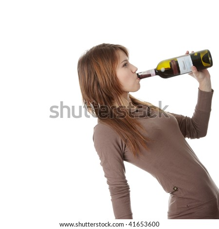 Young caucasian woman with bottle of red wine, isolated on white