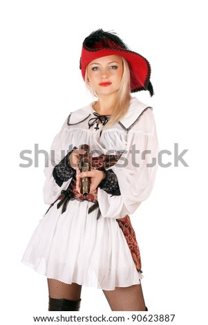 Young charming blonde with gun dressed as pirates