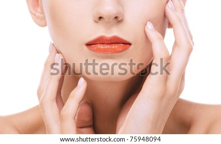 Young charming woman mouth, on white background.