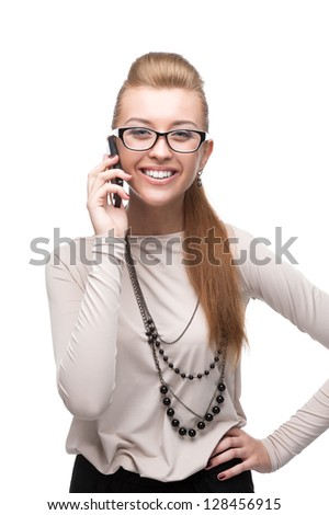 young cheerful caucasian businesswoman talking on cell phone isolated on white