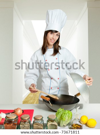 Young chef in a home interior giving a cooking lesson