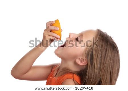 Girl drink juice orange.