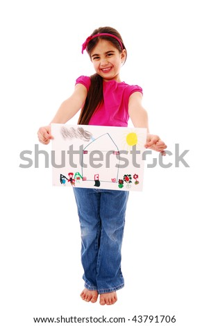 Young child holding picture isolated on white