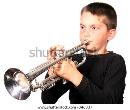Young Child Playing Trumpet