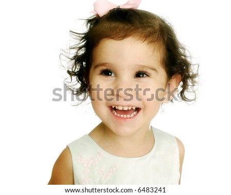 Young Child with a Happy Expression Isolated on a white background