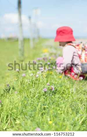 Young child with backpack on trek, discover grass and flowers