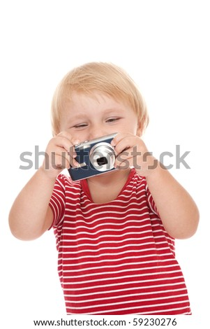 young child with camera pose on white background