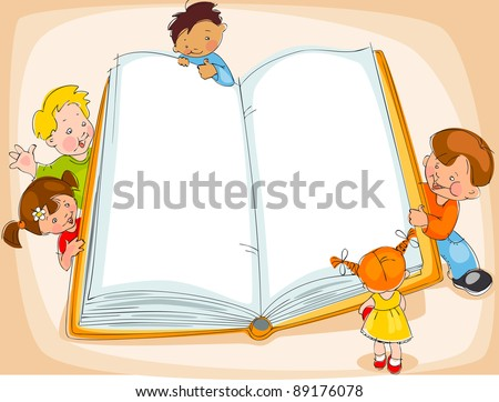 Young children are reading a great book. drawing Banner. raster version
