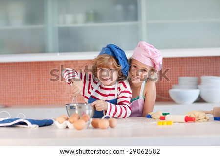 Young Children having fun in the Kitchen