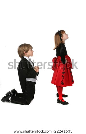young children in formal clothing arguing