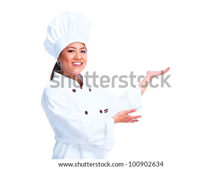 Young chinese chef woman. Isolated over white background