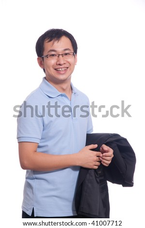 young chinese student in blue polo shirt holding black jacket in
