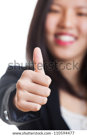 Young Chinese Woman with Thumb Up