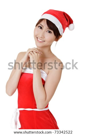 Young Christmas girl of Asian with smiling face, closeup portrait on white background.