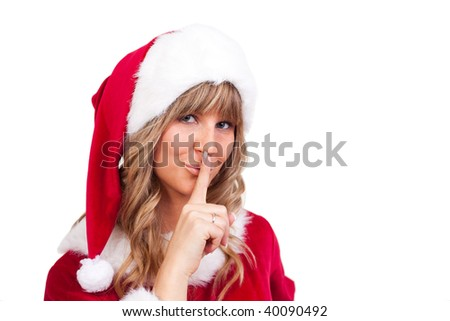 young christmas woman in red santa claus dress - stock photo