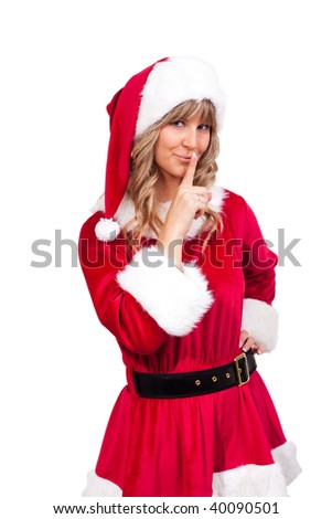 young christmas woman in red santa claus dress
