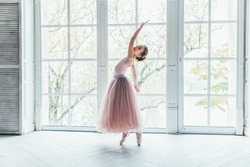 Young classical ballet dancer girl in dance class. Beautiful graceful ballerina practice ballet positions in pink tutu skirt near large window in white light hall