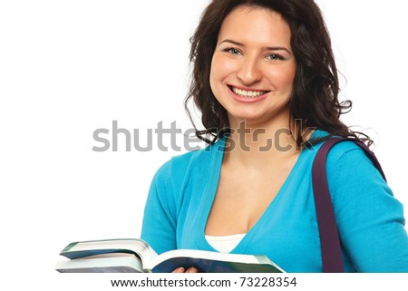 Young college girl with books