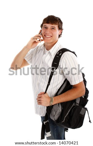 Young College Student on Cellphone with Backpack