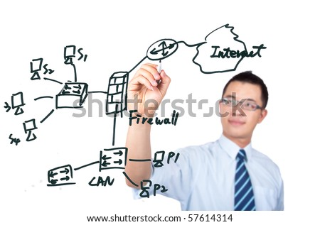 young computer Engineer drawing a internet network diagram
