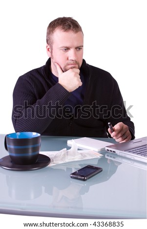 Young Concerned Casual Professional at Work - Isolated Background