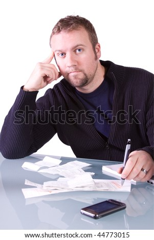 Young Concerned Casual Professional Reviewing Receipts at Work - Isolated Background