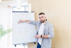 young confident business man in casual clothes holds an online meeting presentation or training using a whiteboard. Businessman or coach explaining and looking at camera. teaches at home. Webcam view