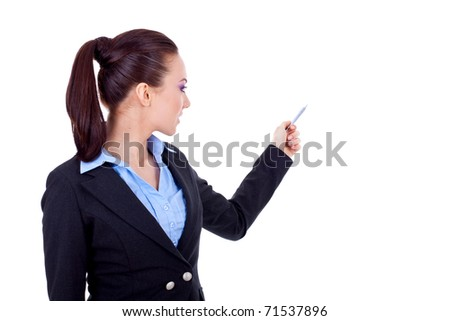 Young, confident business woman presenting her idea, over white