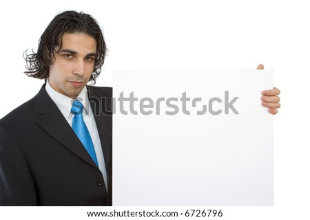 young confident businessman with blank board background