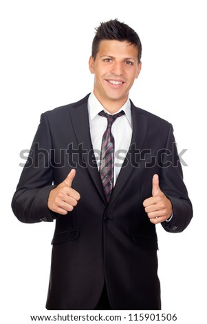 Young Confident young business man saying Ok isolated on white background