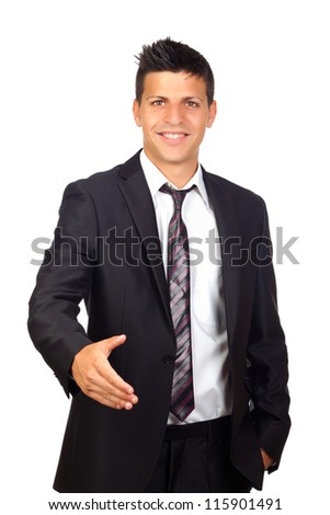 Young Confident young business man  shaking hands isolated on a white background