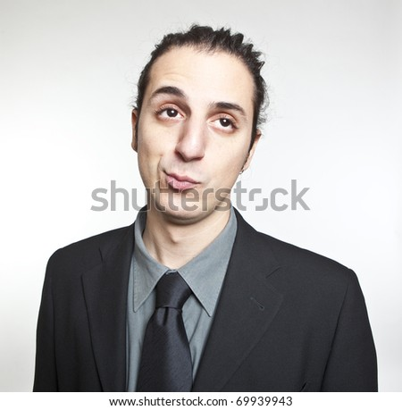 young cool businessman face expression