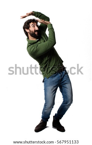 young cool man full body scared pose. #567951133