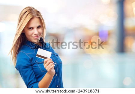 young cool woman with credit card #243918871