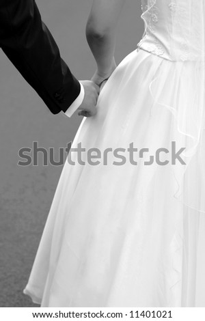 young couple are going to be married; selective focus on hands